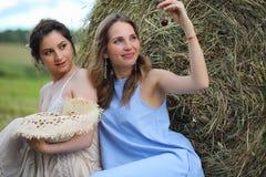 2 девушки в платьях в поле лета Стоковая Фотография RF