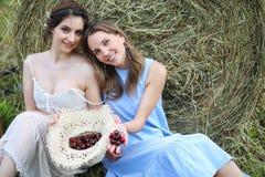 2 девушки в платьях в поле лета Стоковые Изображения RF