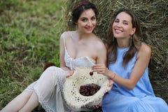 2 девушки в платьях в поле лета Стоковая Фотография