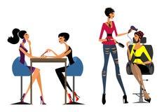 Девушки в салоне красоты стоковое изображение rf