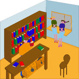 Девушки в старом книжном магазине Иллюстрация вектора