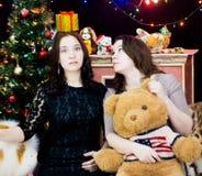 2 девушки в установке рождества стоковые фотографии rf