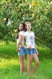 Девушки в яблоневом саде Стоковая Фотография RF