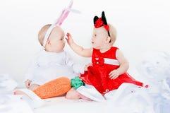Девушки в costumes масленицы Стоковое Изображение