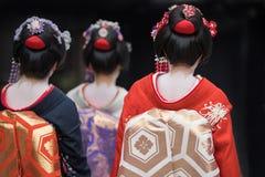 Девушки гейши в Японии Стоковые Изображения RF