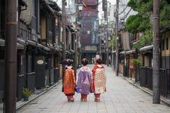 Девушки гейши в Японии Стоковая Фотография