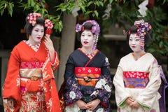 Девушки гейши в Японии Стоковое Фото