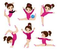 Девушки гимнастики милые установленные в различные представления Стоковое фото RF