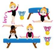 Девушки гимнастики милые установленные в различные представления Стоковая Фотография RF
