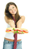 девушки давая милому sandwitch нас Стоковая Фотография