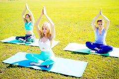 Девушки делая йогу в парке Стоковые Фото