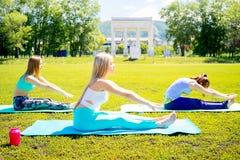 Девушки делая йогу в парке Стоковое Изображение