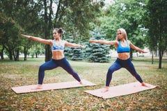 2 девушки делая йогу outdoors Стоковая Фотография