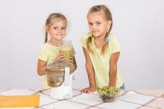 Девушки держа большое стекло сока сжимали в juicer Стоковые Фотографии RF