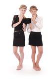 Девушки держа ПК таблетки Стоковые Фотографии RF