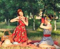 Девушки делают изображения на пикнике ретро Стоковое фото RF