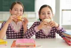 Девушки едят сандвичи Стоковое Изображение RF