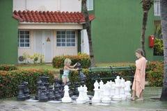 Девушки играя большой шахмат Стоковое Фото