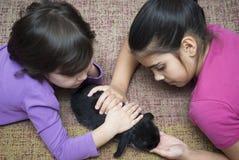 Девушки играя с кроликом Стоковая Фотография RF