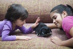 Девушки играя с кроликом Стоковые Изображения