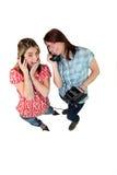 Девушки играя с старым телефоном Стоковое Изображение