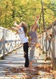 Девушки играя с упаденными листьями Стоковая Фотография