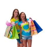 девушки идут ходить по магазинам Стоковое фото RF