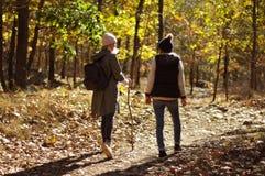 Девушки идя в лес осени в горах Пеший туризм и путешествовать Стоковая Фотография RF