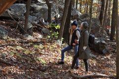 Девушки идя в лес осени в горах Пеший туризм и путешествовать Стоковые Изображения