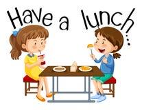 Девушки имеют обед иллюстрация вектора