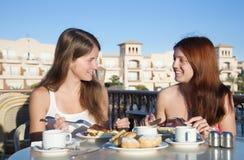 девушки имея обед сь 2 Стоковое Изображение RF
