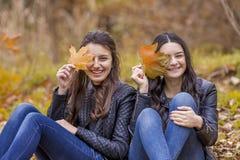 2 девушки имея потеху в парке осени Стоковое фото RF