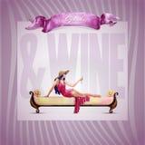 Девушки и вино Стоковые Фотографии RF