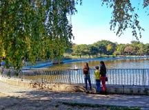 2 девушки и мальчик смотрят лебедя Стоковое Изображение