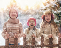 Девушки и мальчик играя на зиме идут Стоковые Фотографии RF