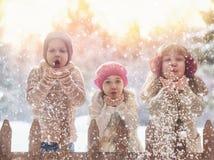 Девушки и мальчик играя на зиме идут Стоковые Фото