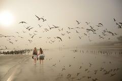 Девушки идя, наслаждающся временем совместно на пляже Стоковая Фотография RF