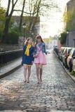 Девушки идя совместно и беседуя Стоковое Фото