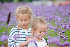 Девушки идя outdoors в поле цветков Стоковое Фото