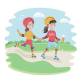 Девушки кататься на коньках ролика Кататься на коньках Freestyl Стоковое Изображение