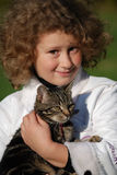 девушки кота стоковая фотография rf