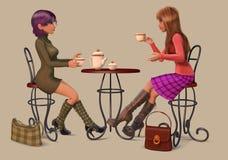 девушки кофе выпивая Стоковые Фотографии RF