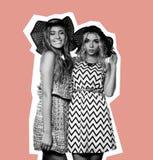 2 девушки лучших другов, коллаж моды искусства Стоковые Фотографии RF