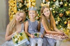 Девушки маленького ребенка с Рождеством Христовым и счастливых праздников милые украшая белую зеленую рождественскую елку внутри  стоковые фото