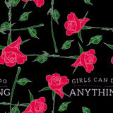 Девушки могут сделать что-нибудь картина лозунга безшовная с розами Стоковая Фотография RF