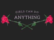 Девушки могут сделать что-нибудь лозунг с розами Стоковое Фото