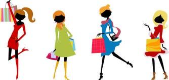 Девушки моды с хозяйственной сумкой иллюстрация вектора