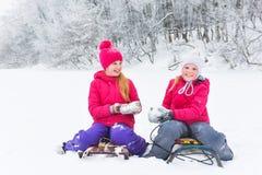 Девушки наслаждаясь днем играя в лесе зимы Стоковые Фото