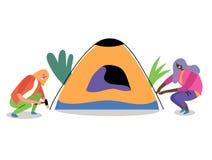 2 девушки настроили шатер бесплатная иллюстрация