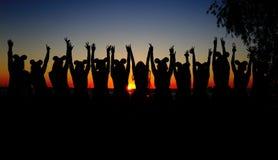 Девушки на заходе солнца Стоковое Изображение RF